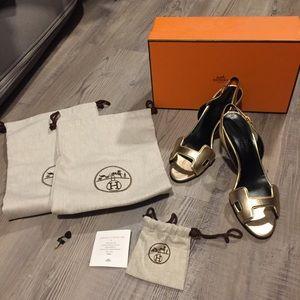 Hermes Night 70 metallic sandals